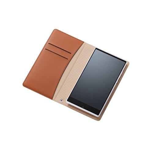 ELECOM スマホ汎用ケース 貼付タイプ 横フラップ Lサイズ ブラウン P-02WDTBR