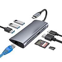 USB Cハブ USB Type-C ハブ macbook 対応 USB 3.0 ポート*3/4K HDMIポート/PD充電ポート/LAN ポート/SD、TFスロット MacBook MacBook air/MacBook Pro/Huawei Matebook/Google ChromeBook Pixel (2016 / 2017)対応