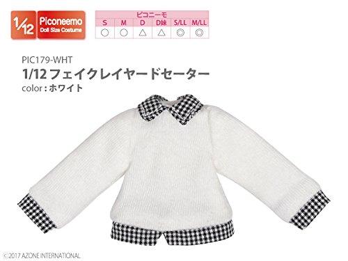 ピコニーモ用 1/12 フェイクレイヤードセーター ホワイト (ドール用)