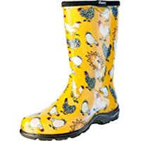 Sloggers Women's Waterproof Rain and Garden Boot with Comfort Insole, Chickens Daffodil Yellow, Size 10, Style 5016CDY10