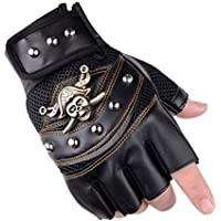 UTOWO Fingerless Studded-Gloves Mens Vintage Steampunk/Motorcycle - Captain Half Fingerless Mittens Rocker Costume Accessory
