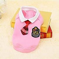 犬布スクールスタイルペット犬服猫チワワ服ドレスパグ子犬のコート衣装用小さな犬服 (S, pink suit)