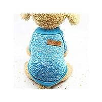 小型犬の冬の暖かいコートクラシックセーターフリース8色セータークリスマス服、青、Xsのペット犬服