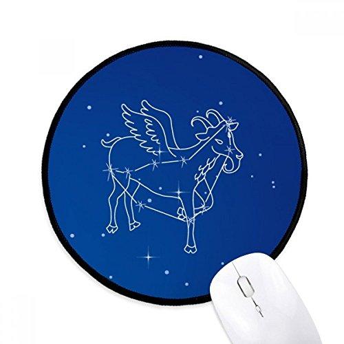 1月の山羊座星座のパターン ラウンド・ノンスリップ・マウスパッド・ブラックtitched端ゲームオフィス贈り物