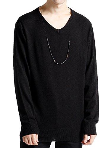 (モノマート) MONO-MART カシミアタッチ Vネック ハイゲージ セーター ニット ニットソー 長袖 メンズ ブラック Lサイズ