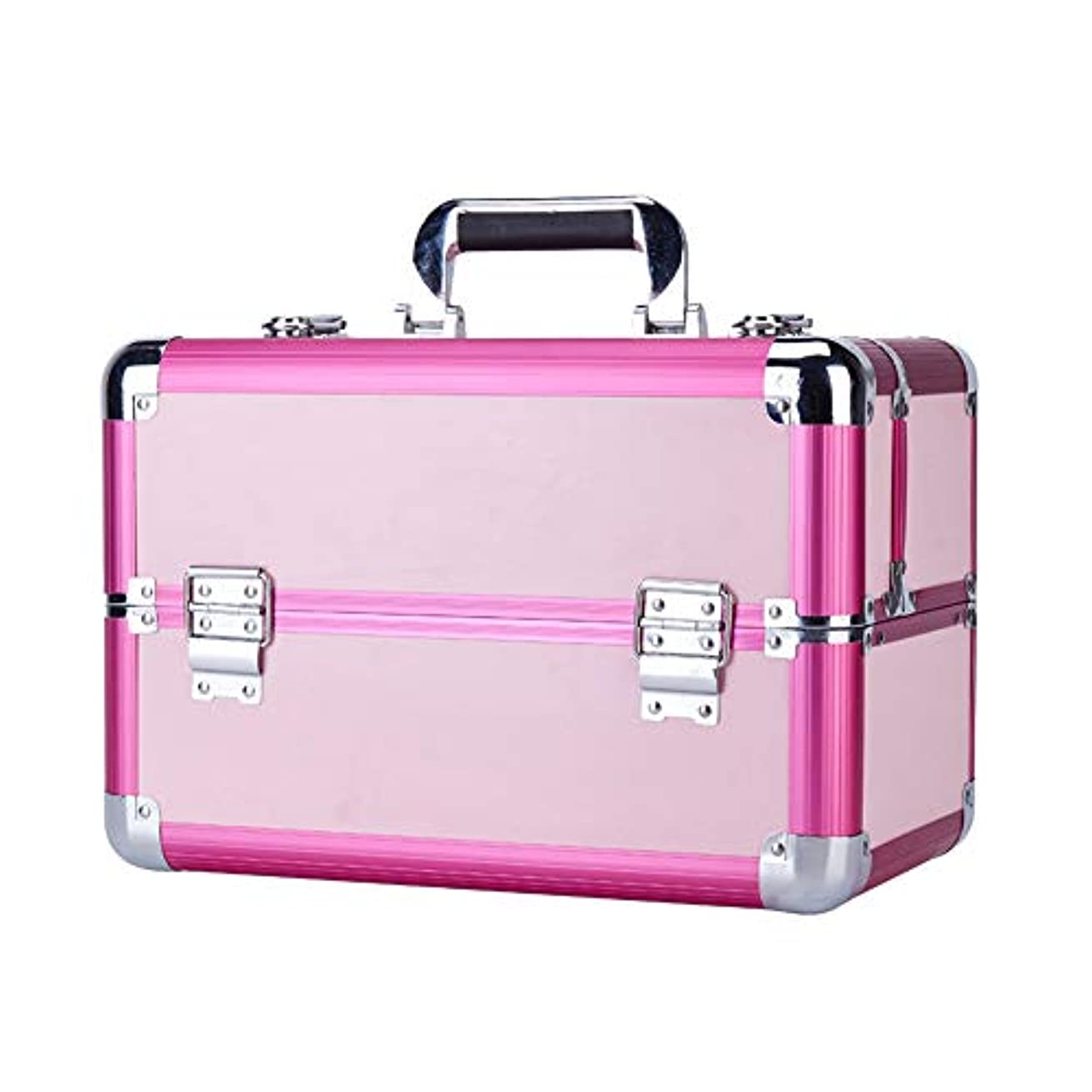 カール備品ベッド特大スペース収納ビューティーボックス 美の構造のためそしてジッパーおよび折る皿が付いている女の子の女性旅行そして毎日の貯蔵のための高容量の携帯用化粧品袋 化粧品化粧台 (色 : ピンク)