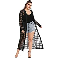 Romwe Women's Plus Size Floral Feather Print Sheer Loose Kimono Cardigan Capes