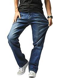 Hiloyaya 大きいサイズ メンズ ジーンズ ストレッチ ストレート デニム パンツ ゆったり カジュアル おしゃれ