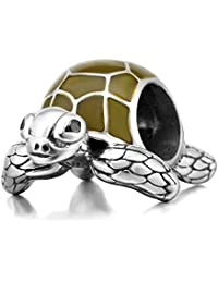 925 Sterling Silver Tortoise Charm Sea Turtle Charm Animal Charm Pet Charm Anniversary Charm Birthday Charm for Pandora Charms Bracelet (B)