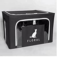 収納ボックス 衣類  多機能収納箱 取っ手付き 布団 (ブラック猫)