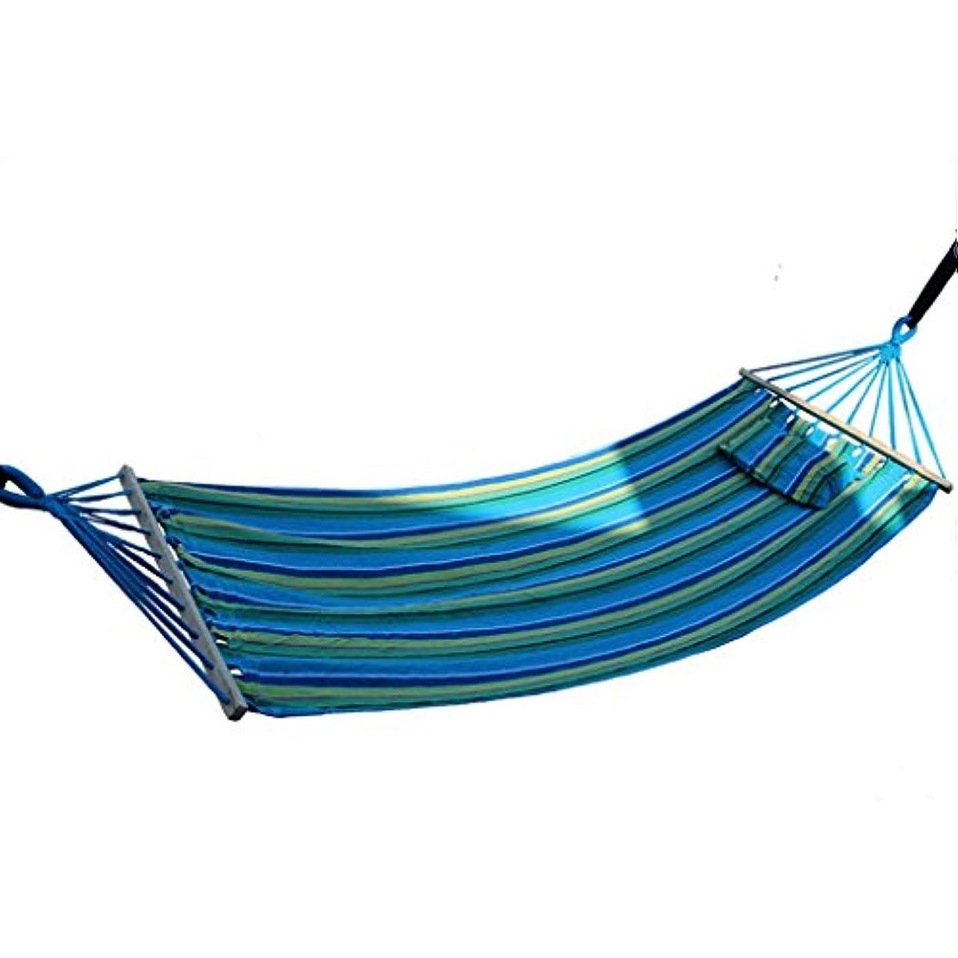 タックグラマーしがみつくRMJAI 屋外ハンモック、携帯用ハンモック200x80cm 1人レジャーキャンバスハンモック、携帯用ハンモックキャンプ、ビーチ、裏庭、ポーチ、庭屋外または屋内用200x80cm(78.7x31.5in) (色 : 青)