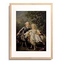 Drouais, Francois-Hubert,1727-1775 「Kinderbildnis Charles Philippe von Frankreich mit Schwester Marie-Adelaide.」 額装アート作品