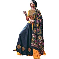 Exotic India Black and Marigold Lehenga Choli from Kutch with Multicolor Embroidered Parrots and Mirrors