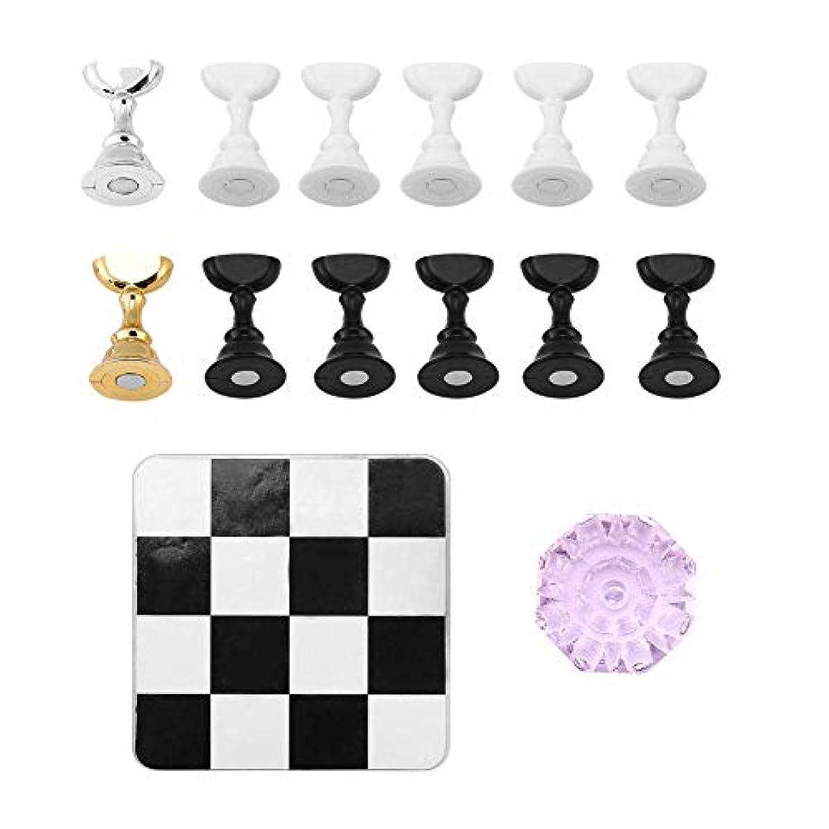 物理学者デモンストレーション博物館TOPINCN チェス盤 磁気 ネイルアートディスプレイ ネイルスタンド ネイルホルダー 練習用スタンド クリスタルベース