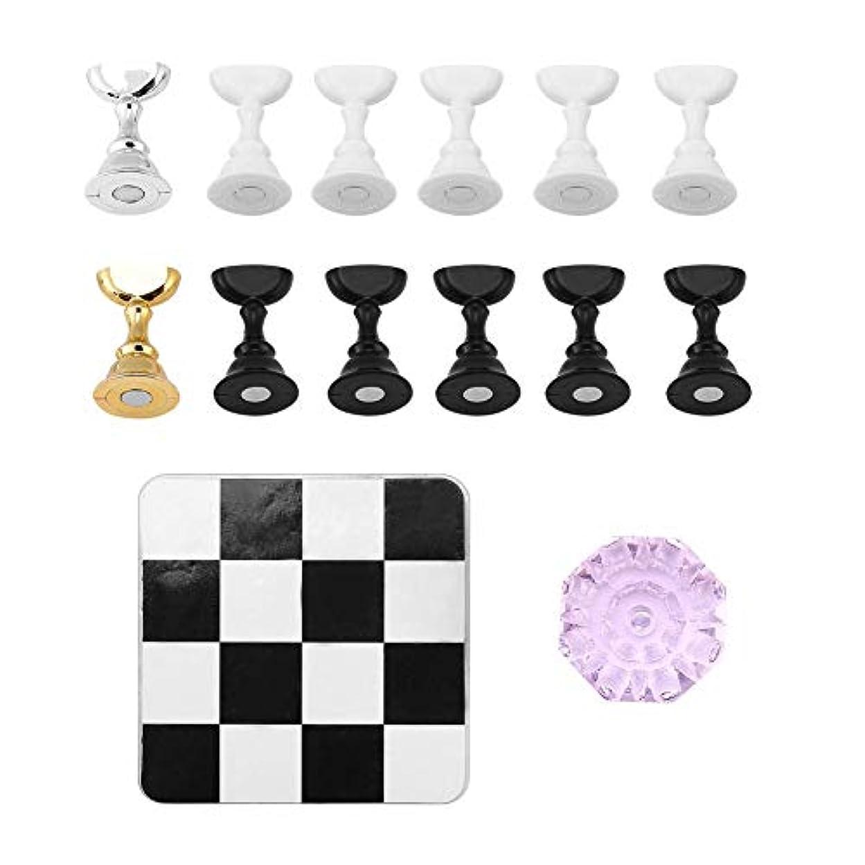 連続した博物館凍るTOPINCN チェス盤 磁気 ネイルアートディスプレイ ネイルスタンド ネイルホルダー 練習用スタンド クリスタルベース