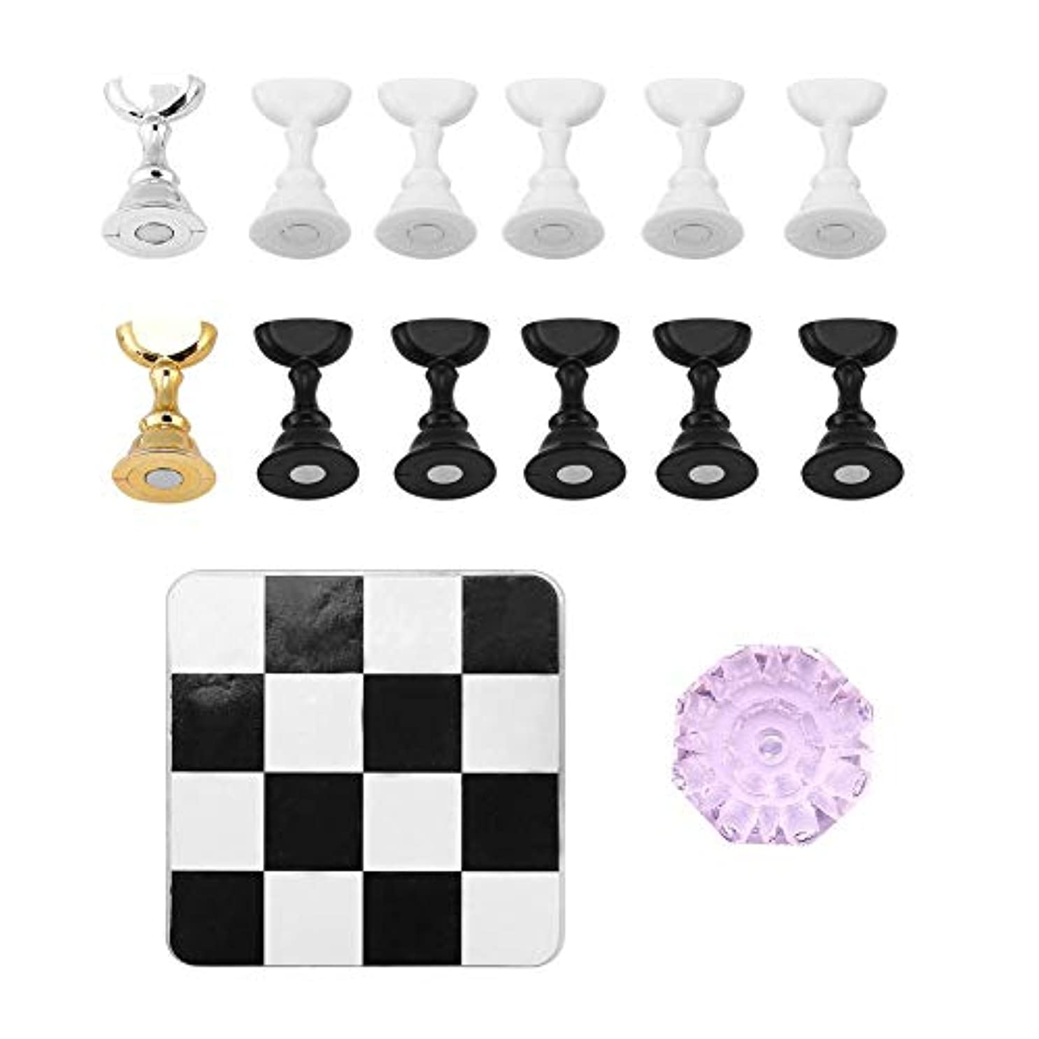 講師法医学本質的ではないTOPINCN チェス盤 磁気 ネイルアートディスプレイ ネイルスタンド ネイルホルダー 練習用スタンド クリスタルベース