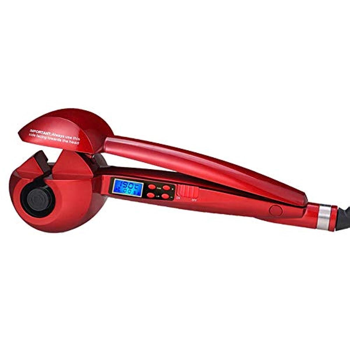 腹蚊造船LCD表示の温度調整の自動陶磁器のヘア?カーラー、自動ヘア?カーラー モデリングツール (色 : レッド)