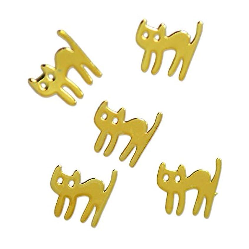褐色アジア人キャッチ薄型メタルパーツ びっくり ネコ cat 5×5mm ゴールド 50p入り