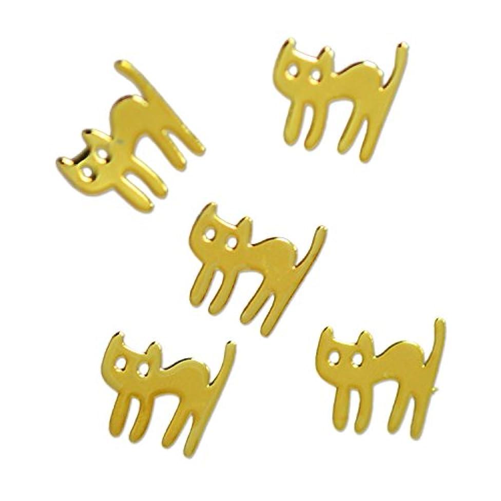 帰るみ憂鬱な薄型メタルパーツ びっくり ネコ cat 5×5mm ゴールド 50p入り