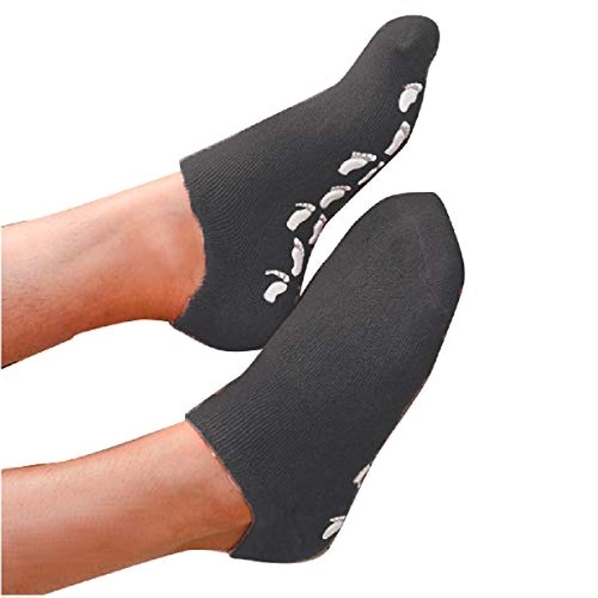 試験眠り曖昧なS&E かかと 靴下 保湿 ソックス 美容成分 潤い ゲル付き 滑り止め 足裏 足の甲 ホホバオイル グレープシード ビタミンE ラベンダー ローズ (ブラック)