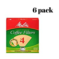Melitta コーンコーヒーフィルター ナチュラルブラウン #4 100枚 6 pack