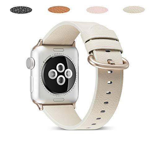 Mikeric 互換バンド Apple Watch対応 アップルウォッチバンド アップルウォッチ4バンド apple watch series4/3/2/1適用 本革 レザー製 ビジネス用 腕時計ベルト(38mm/40mm,白)