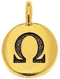 TierraCast Greekアルファベットチャーム、オメガシンボル16.75 X 11.75 mm、1ピース、アンティーク調ゴールドメッキ