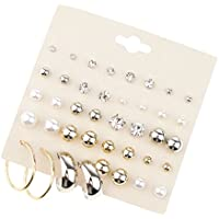 Baoblaze 20 Pairs Mixed Size Crystal Pearl Ball Stud Hoop Earrings Polished Metal