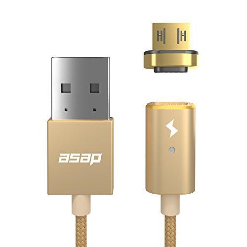 ASAP X-ConnectmicroUSB用 ネオジム磁石 吸い付く強力マグネット式 充電ケーブルセット (1.2M)近づけるだけ 超ラク 充電 Android スマートフォン タブレット Kindle ノイズキャンセリング ヘッドホン WiFi ルーター モバイルバッテリー クラウドファンディング正規代理店商品 (ゴールド)