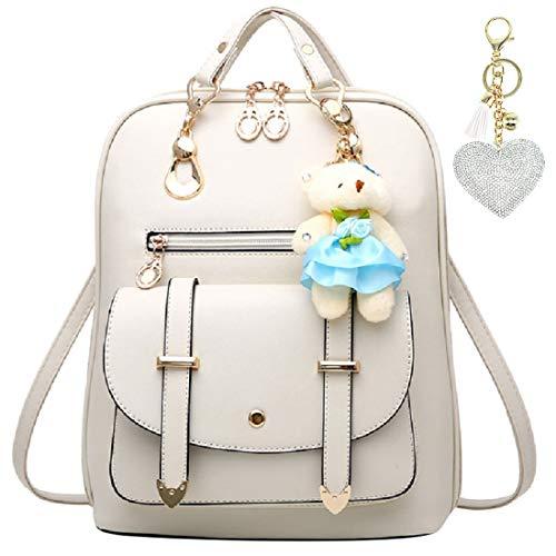 [Lulucia] キッズ リュック 小学生 女の子 キラキラチャーム付き 3WAY バッグ レザー (ホワイト)
