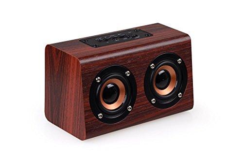 ブルートゥーススピーカー Bluetooth4.2スピーカー ポータブル ダブルスピーカー ワイヤレススピーカー 10w 2000 mAh充電池 小型 パソコン 搭載 AUX 入力 ハンズフリー 通話 高音質 重低音 ミニ TFカード サポート (ブラウン)