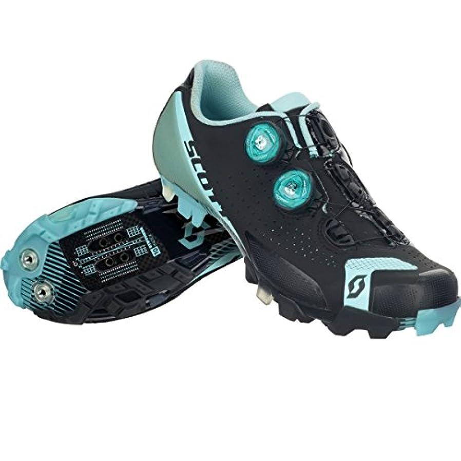 葉動詞害スコット?MTB RC Lady Shoe – Women 'sマットブラック/ターコイズブルー、41.0