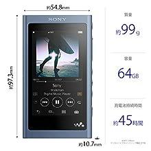 ソニー SONY ウォークマン Aシリーズ 64GB NW-A57 : Bluetooth microSD対応 ハイレゾ対応 最大45時間連続再生 2018年モデル ムーンリットブルー NW-A57 L