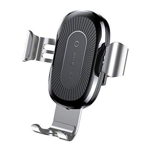Baseus(ベースアス) 車載用 スマートフォンホルダー ワイヤレス充電器 スマートフォンスタンド 置くだけ充電 エアコン吹き出し口 簡単取付 急速充電 ケーブル付き Qi 規格対応 iPhone X Android (シルバー) B-70787