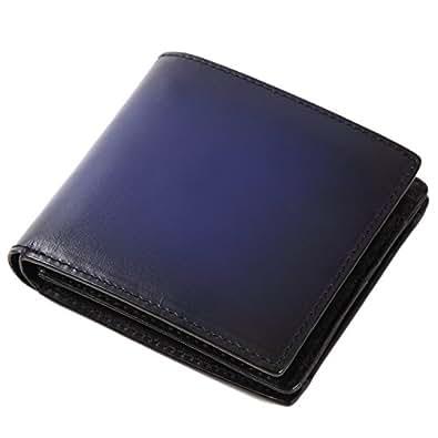 (ラファエロ) Raffaello 一流の革職人が作る スフマート製法で仕立てたメンズ二つ折財布 (アズールブルー)