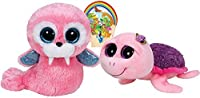 TY Beanie Boos ROSIEパープルローズTurtle and TuskピンクWalrusギフトセットof 2Plushおもちゃ6–8Inches Tall With Bonus動物ステッカーby TyビーニーBabies