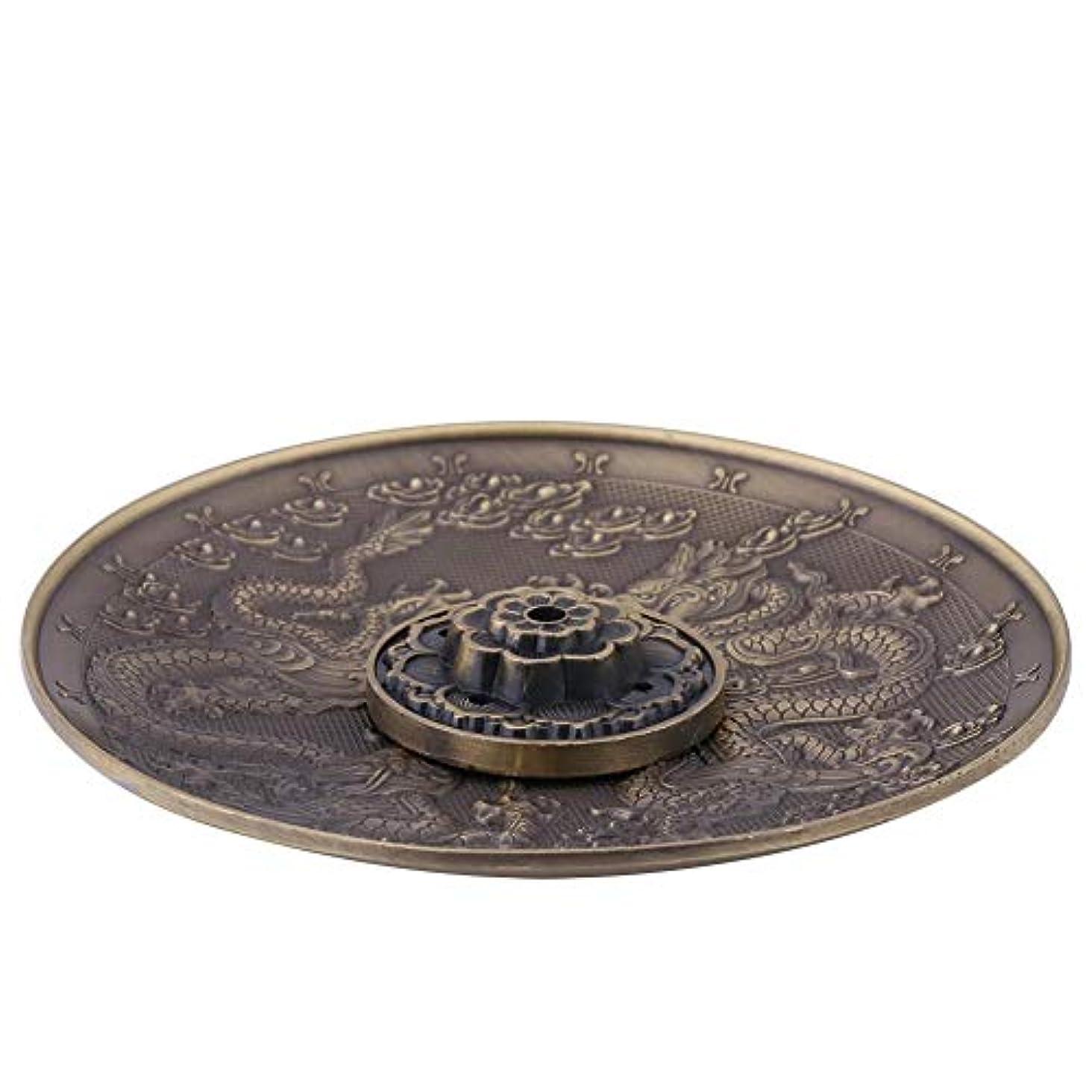 植物学宿題をするかすかな金属バーナーホルダー5穴亜鉛合金の香りバーナーホルダー 寝室の寺院の装飾 ドラゴンパターンの香炉プレート(#2)