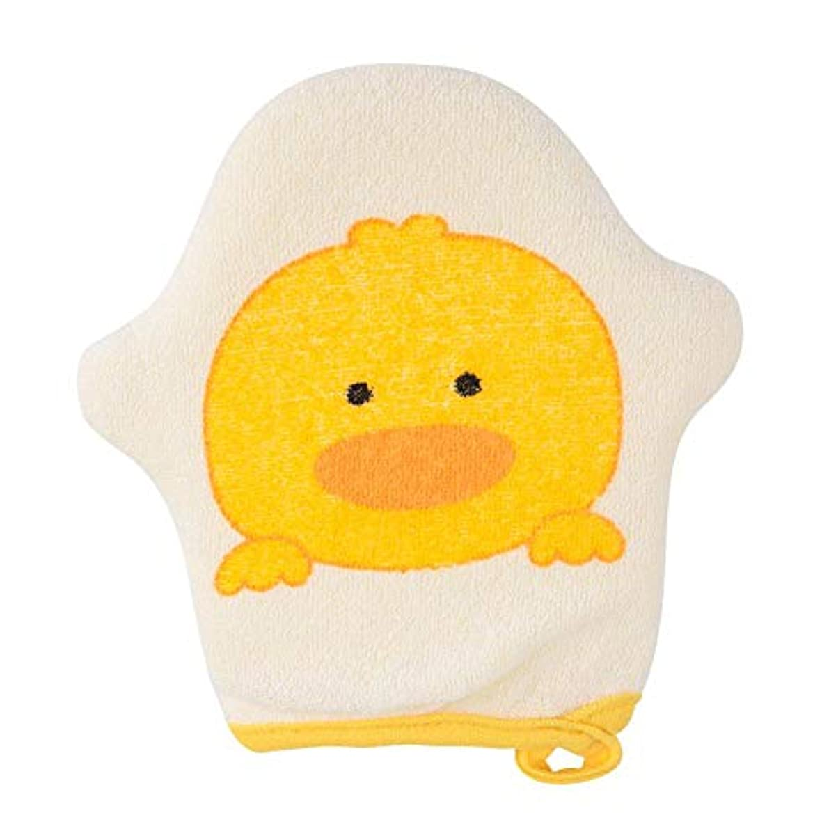 スーツケース織る愛情深いシャワースポンジ シャワー手袋 垢すり手袋 ボディースポンジ 浴用手袋 赤ちゃん ベビー 両面用 入浴用 シャワーブラシ 入浴用品 お風呂用 バス用品 柔らかい 動物柄 かわいい オシャレ(イエロー)