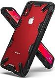 Apple iPhone XR ケース 対応 Ringke [Fusion-X] 落下衝撃吸収 ストラップホール TPU PC [米軍MIL規格取得] 二重構造 スマホケース 背面クリア (Black/ブラック)