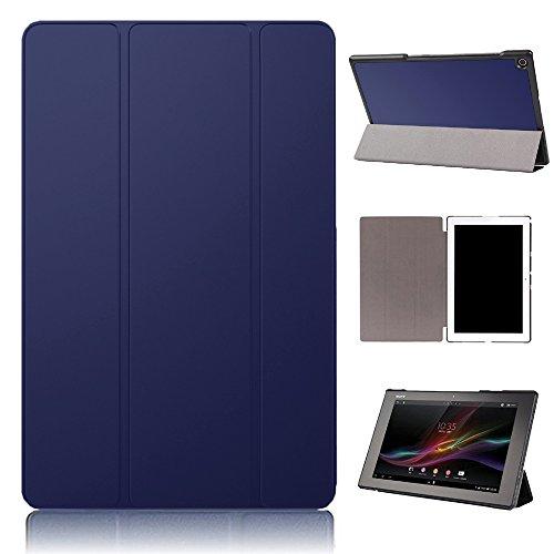 f154f4b958 PauTion Sony Xperia Z2 tablet ケース Xperia Z2 tablet カバー 三つ折スタンド スマートカバー 傷つけ防  PUレザー (Sony Xperia Z2 tablet, ブルー)