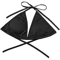 Women Bikini Top One Piece Sexy Bra Double Back Strap Push-Up Bandage Halter Bikini Top Swimsuit Swimwear Women Bikini Top, 11 Colors