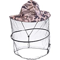 BESPORTBLE Mosquito Head Net Hat Hiking Fishing Hats Sun Protection Water Repellent Bucket Boonie Hat for Men Women (Grey Camouflage)