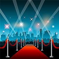 Leowefowa 6x6フィート ビニール レッドカーペット 写真背景 キラキラ ステージ背景 抽象的な都市ビルディング 背景 ハリウッド オスカー イベント パーティー デコレーション 誕生日 結婚式 写真背景