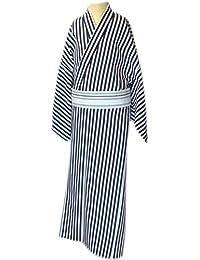 男物仕立上 小紋 単衣仕立  黒白 縞柄 縞巾10mm 着丈3尺8寸5分 大きいサイズ