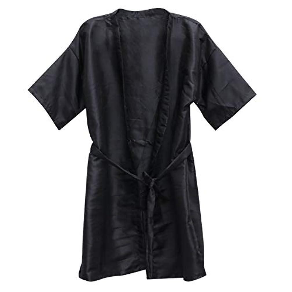 山岳摂氏度透明にFrcolor 美容院ケープ 理髪エプロン ヘア染めスーツ (ブラック)