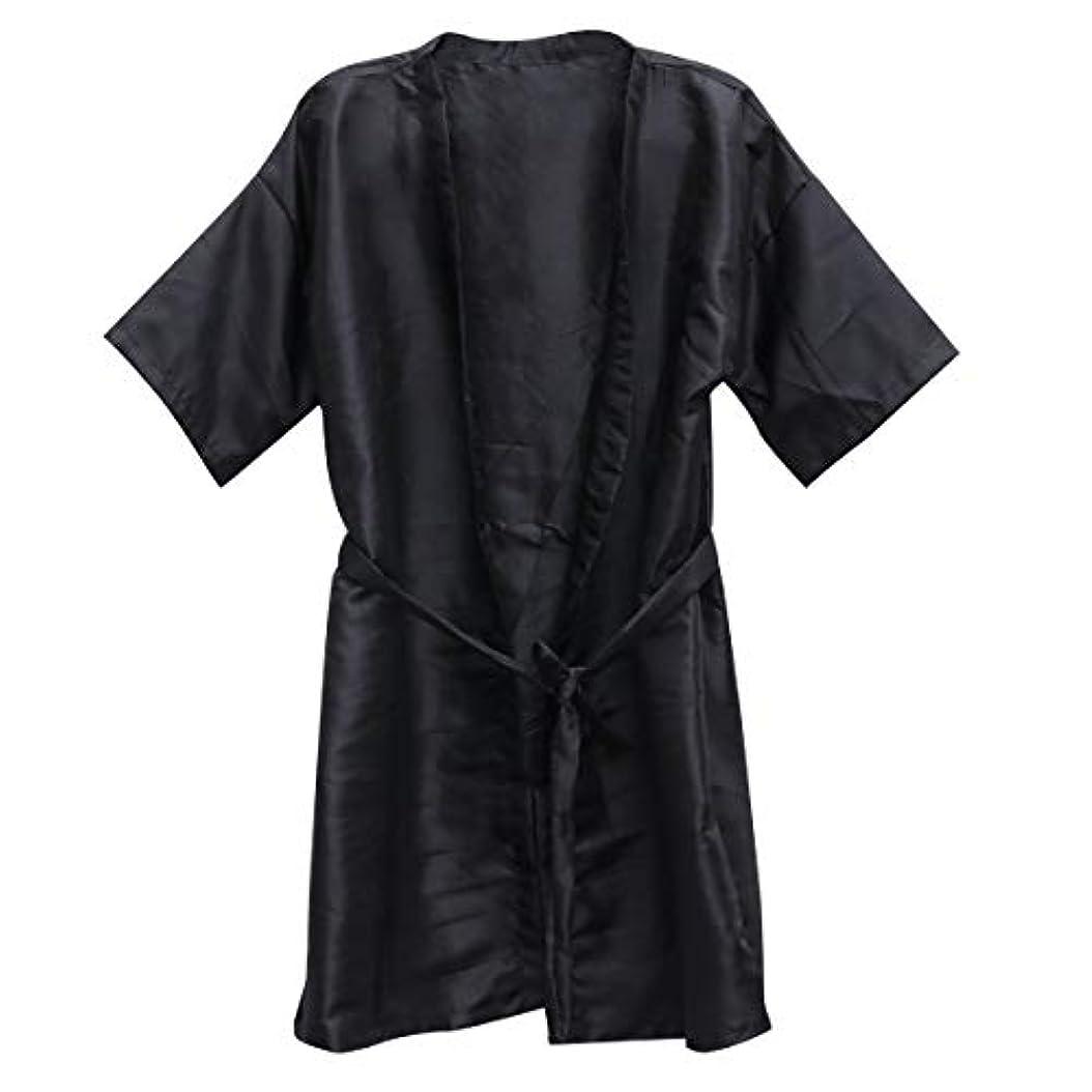 寛容カテナ服を着るFrcolor 美容院ケープ 理髪エプロン ヘア染めスーツ (ブラック)