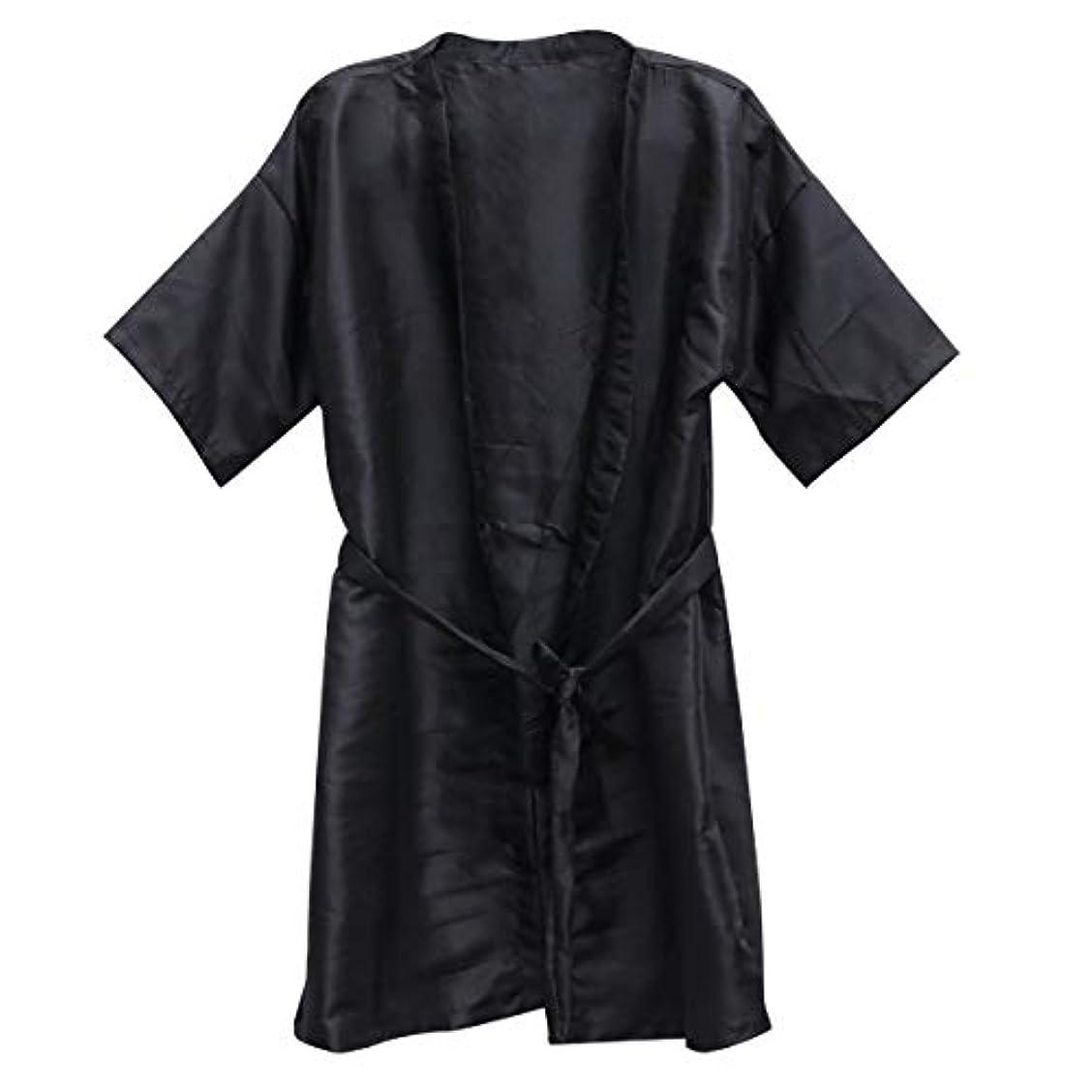 十年法医学写真撮影Frcolor 美容院ケープ 理髪エプロン ヘア染めスーツ (ブラック)