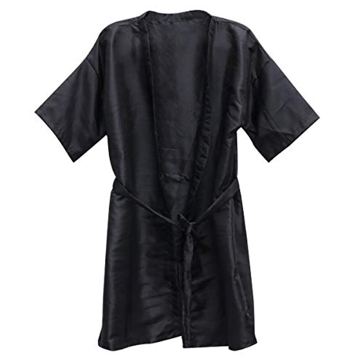 彫る認可どうやらBeauprettyサロンクライアントガウンスパホテルバスローブ女性男性着物ローブ理髪布(黒)3個