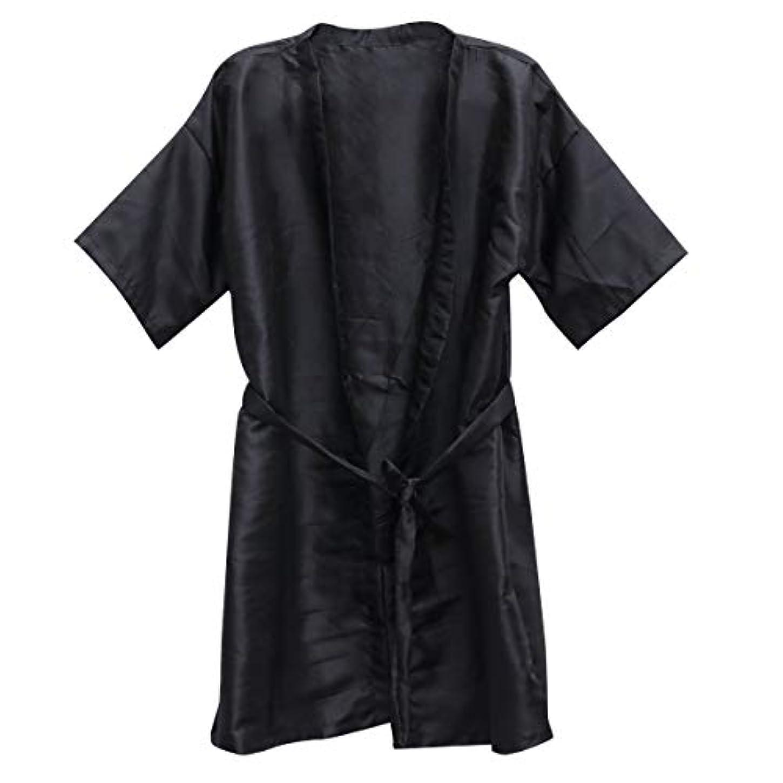 立方体スロベニアびっくりするFrcolor 美容院ケープ 理髪エプロン ヘア染めスーツ (ブラック)