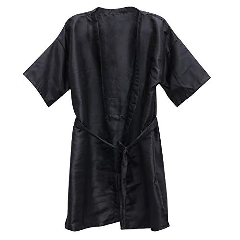 サービス隔離するパトロールFrcolor 美容院ケープ 理髪エプロン ヘア染めスーツ (ブラック)